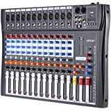 ammoon 120S-USB 12 Canales Mic Mesa de Mezclas Mezclador de Audio 3 Bandas de Ecualización XLR USB Entrada 48V Phantom Power con Adaptador de Energía