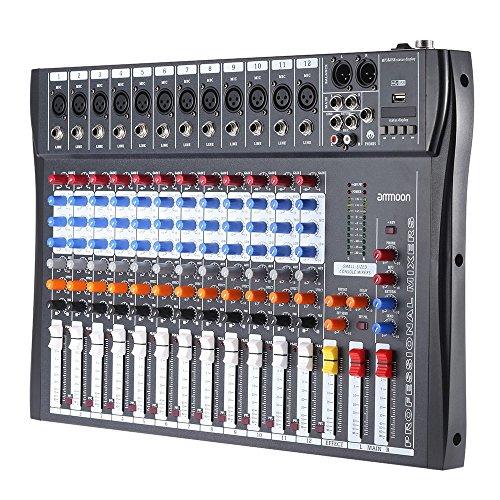AMMOON 120S-USB 12 CANALES MIC MESA DE MEZCLAS MEZCLADOR DE AUDIO 3 BANDAS DE ECUALIZACION XLR USB ENTRADA 48V PHANTOM POWER CON ADAPTADOR DE ENERGIA