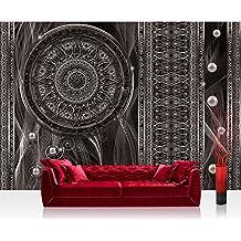 Papel Pintado Fotográfico Premium Plus fotográfico pintado–cuadro de pared–Ornamente–Papel pintado atrapasueños Mandala trenzado Red perlas líneas Antracita–No. 1525, antracita, Fototapete 254x168cm | PREMIUM Blue Back