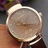 JSDDE Uhren,Elegante Damen Armbanduhr Braunglas Glitzer Dial XS Slim PU Leder-Band Ladies Dress Analog Quarzuhr,Dunkelbraun -
