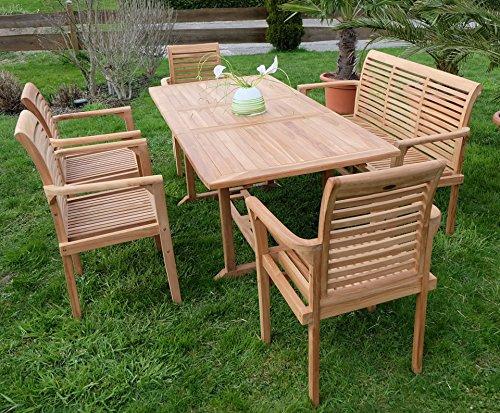 Edle TEAK XXL Gartengarnitur Gartenset Sitzgruppe Gartenmöbel Ausziehtisch 150-200cm + 4 Sessel + Gartenbank 'ALPEN' Holz geölt von AS-S - 2