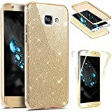 Cover per Samsung Galaxy A5 2016 Integrale 360 Gradi, Samsung Galaxy A5 2016 Custodia in TPU Silicone Glitters, Surakey [3 in 1] Full Body Cover Samsung Galaxy A5 2016 Case Gomma Morbida Double Gel Protezione Totale da Davanti a Dietro con Brillantini Bling Sparkles Soft Touch Screen Skin Ultra Sottile Bumper Custodia, Antigraffio, Antiurto, Antiscivolo, Oro immagine