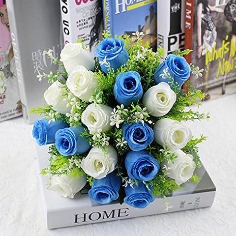 Toamen 18Head Artificial Silk Roses Flowers Bridal Bouquet Rose Home Wedding Decor (White+blue)