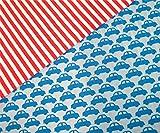 0,5m Jersey Autos blau-türkis & 0,5m Ringel Jersey