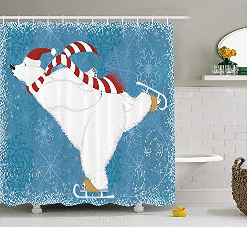 er Curtain by, Polar Bear with Christmas Hat and Scarf Ice Skating Ornate Snowflakes and Swirls, Fabric Bathroom Decor Set with Hooks, 84 Inches Extra Long, Blue Red White ()