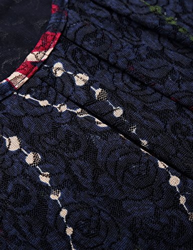 BaiShengGT Damen Übergröße Spitzen Rundhals Langarm Shirt Blau-Rot
