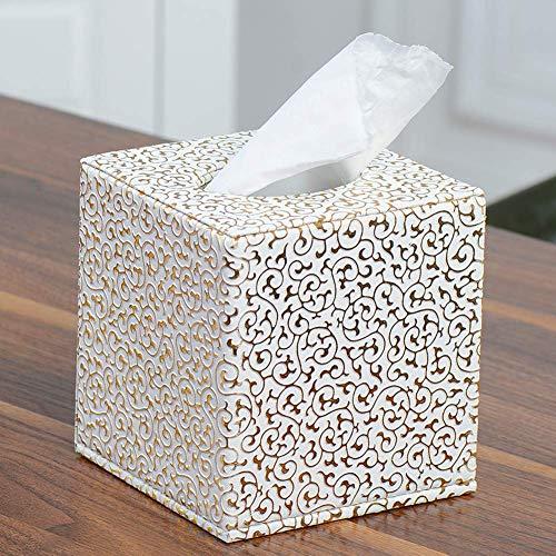 Gewebe Box Papier Halter Home Stilvolle Auto Prägung Kunstleder Praktisch Square Hotel Dekoration Büro Wc (Gold) - Gold, free size
