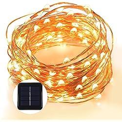 Grefine 100 LED Solar Hada Luces Estrellado Cuerda Luces, 40 Ft/ 12 Metros Bajo Techo, en Exteriores Impermeable Cobre Luces de Alambre Iluminación Ambiental Para Exteriores, Jardines, Hogares, Baile, Fiesta de Navidad (Blanco Cálido)