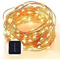 Grefine 100 LED Solare Fata Luci Stellato Corda Luci, 40 Ft/ 12 METRI Dentro Fuori (Angolo Gazebo)