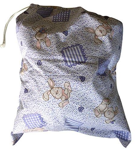 Preisvergleich Produktbild Kindergarten-Beutel, 46x 60cm, zum Aufbewahren von Kleidung Coniglietti e Carote Lilla