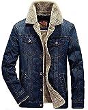Minetom Inverno Parka Retro Caldo Giacche Capispalla Jeans Giacca Da Uomo Outwear Casual Manica Lunga Jacket (EU M, Blu Scuro A)