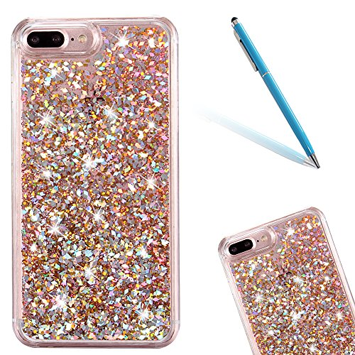 Chiaro Crystal Protective Case per Apple iPhone 7Plus 5.5, CLTPY Particolari Duro Difficile Plastica Doppia Copertina Fashion Luminosa Bello Tough Semplice Shell con Amore Romantico Cuori e Glitter P Oro