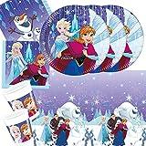 37-teiliges Party-Set Frozen die Eiskönigin - Snowflakes - Teller Becher Servietten Tischdecke mit Anna Elsa und Olaf für 8 Kinder Neues Design 2017