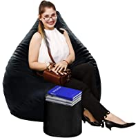 Dr Smith Bean Bags with Footrest Combo Filled with Beans Size XXL Black