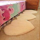 Liqucase Herzform Ehe Schlafzimmer Teppich Super Weiche rutschfestem Hochzeit Teppich für Schlafzimmer modernen Bereich Teppich Weich Boden Teppich Läufer, 50cmx160cm, gebrochenes weiß, 70cm*200cm
