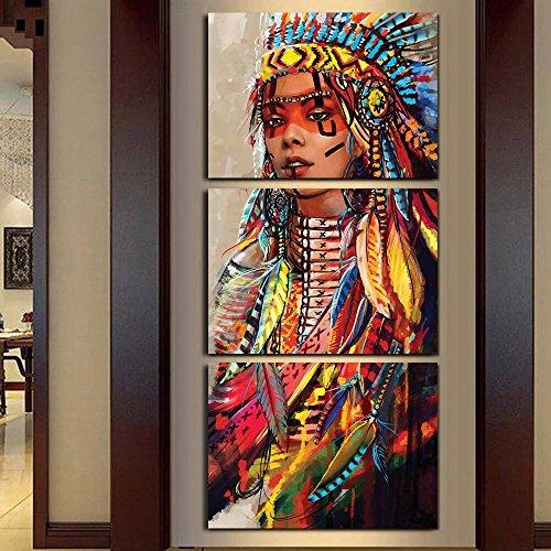 Mit Rahmen Leinwand Wand Kunst Leinwand Gemälde Landschaft 3 Panel Native American Indian Girl gefiederten Wall Bilder für Wohnzimmer HD-Print, 50 x 70 cmx 3 Stk. (Gemälde Native Kunst)