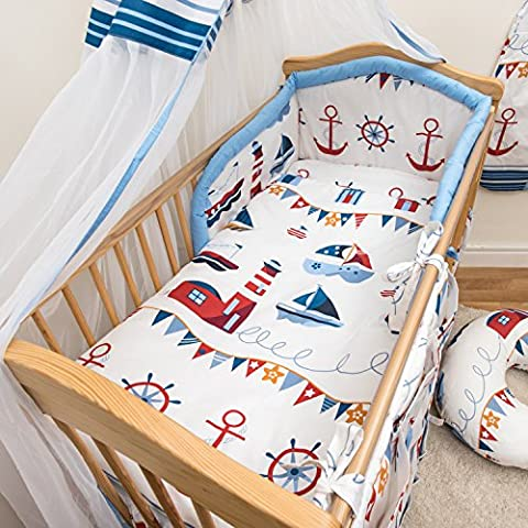 5 Pcs Baby Bedding Set, Padded Safety Bumper - (Fits Cot 120x60 cm, Pattern 16