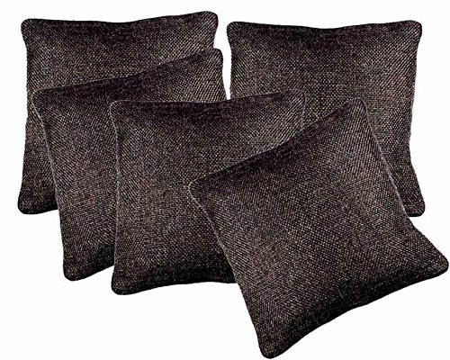 Belive-Me Classic Jute Cotton Brown Cushion Covers (16X16 Inches) Set Of 5