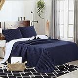 Tagesdecke Bettüberwurf 3-tlg 230*250 schlicht Baumwolle Gesteppt Patchwork gemuster Handbestickte Bettwäsche Baumwolle und 2 Kissenbezüge 50 * 70cm, Blau