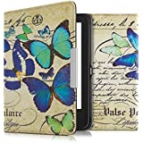 kwmobile Hülle für Tolino Shine 2 HD - Flipcover Case eReader Schutzhülle - Bookstyle Klapphülle Schmetterlinge Vintage Design Blau Mintgrün Beige