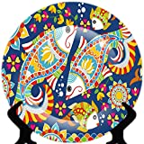 #9: YoursPride Rare Handcrafted Blue Coral Design Ceramic Decorative Plate/Platter with Stand