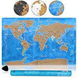 Amazy mapa del mundo para rascar XXL / Un bonito recuerdo de viaje para todos esos trotamundos (azul |82 x 58 cm)