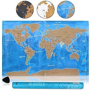 Amazy Carte du monde à gratter XXL – Poster souvenir de voyages pour les globetrotters (Bleu   82 x 58 cm)