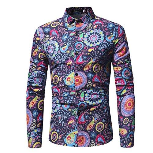 Herren Lange Ärmel Hemd,FRIENDGG Persönlichkei Casual Blumen Drucken Beiläufig Frühling Herbst Sommer Winter Schlank Mode T-Shirt Shirts Tops Bluse Pullover Für Männer (XL, Marine)