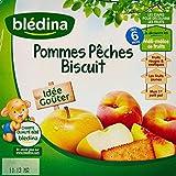 Blédina Pommes Pêches Biscuit en Coupelles dès 6 Mois 4 x 100g - Lot de 6