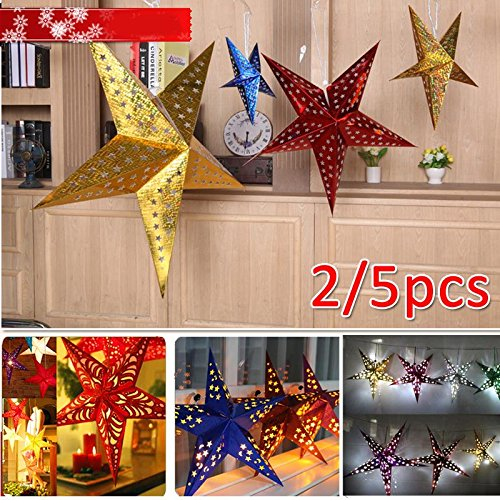 Sedeta Stern Laterne Tutorial Stern Laterne Lampshade Weihnachtspapier Sternpentagram Lampshade Kabel-Design Pentagramm Hochzeit Weihnachten (Dekor Holloween)