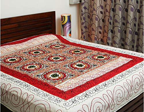 CLASTIK Gujrati Embroidery on Off-White Cotton King Size Double Bed Sheet with 2 Pillow Cover and Designs