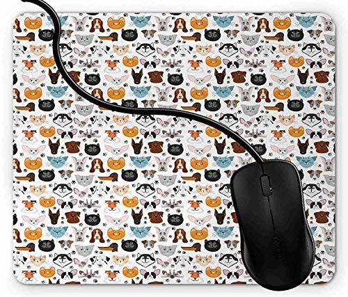 Mauspad Katze und Hund Gesichter beste Freunde Whisker Bulldog Beagle Labrador Calico Kitty Rutschfeste Gummi Basis Mouse pad, Gaming mauspad für Laptop, Computer 1X1478