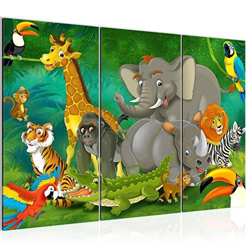Bilder Kinder Afrika Tiere Wandbild 120 x 80 cm Vlies - Leinwand Bild XXL Format Wandbilder Wohnzimmer Wohnung Deko Kunstdrucke Grün 3 Teilig -100% MADE IN GERMANY - Fertig zum Aufhängen 001831a Kinderzimmer Tier Bilder