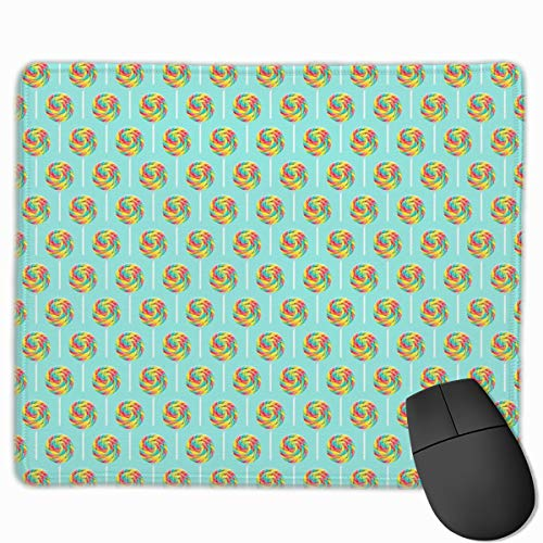 Whirly Pops - Multi On Blue - Lollipop C18BS_77162 Mouse pad Custom Gaming Mousepad Nonslip Rubber Backing 9.8