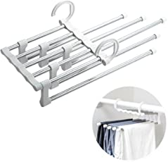 Magnusdeal Adjustable Multipurpose Hanger- Stainless Steel Multi-Functional Retractable Drying Trousers Wardrobe Multilayer