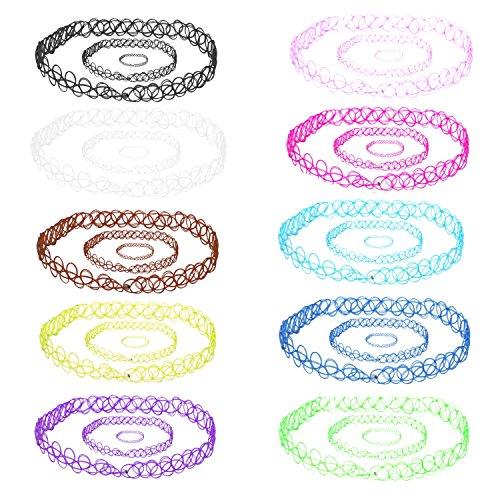 BodyJ4You De las mujeres 30pc estiramiento gargantilla gótico tatuaje de henna collares pulseras y anillos - conjunto de 10