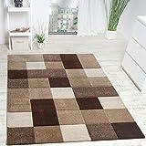 Paco Home Designer Teppich Modern Handgearbeiteter Konturenschnitt Kariert Braun Beige, Grösse:160x230 cm