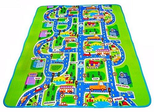 MABOSHI - Alfombra infantil para jugar, diseño Ciudad (200 x 160 cm)