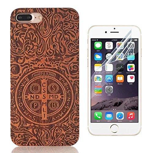 iPhone 5S Cover, iPhone 5 Custodia,Bonice Unico Legno Nature Wood Ultra Sottile Handmade Hard Plastic Back Skin Case Cover iPhone 5S 5 SE + 1x Protezione Dello Schermo Screen Protector - Croce