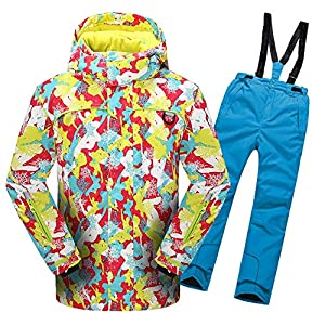 LPATTERN Kinder Jungen/Mädchen Skifahren 2 Teilig Schneeanzug Skianzug(Skijacke mit Kapuze+ Skihose mit Trägern)