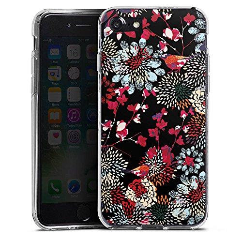 Apple iPhone X Silikon Hülle Case Schutzhülle Blumen Bunt Dunkel Muster Silikon Case transparent