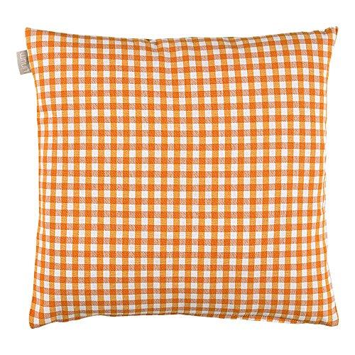 Linum Osby Kissenhülle orange weiss kariert 40*40 cm Baumwolle D06 Orange Karierte