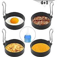 Yaoyin   Stampo per uova al tegame  4 pezzi  7 cm  in acciaio inox  anello per cuocere uova al tegame  pancake  omelette e molto altro ancora  rivestimento antiaderente  pennello per oliare incluso