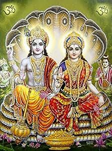 Resting Lord Vishnu On Shesh Nag With Goddess Lakshmi Hindu God