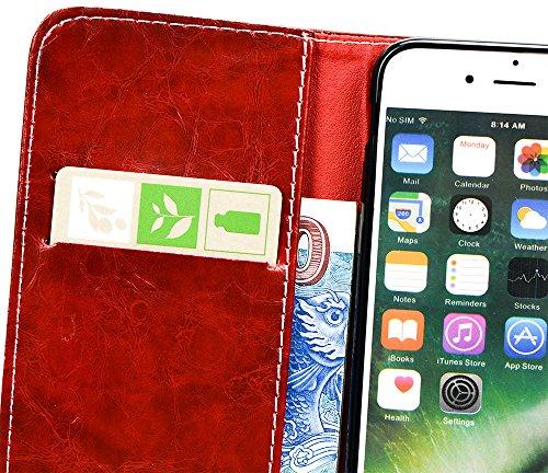 Apple Iphone 7 hülle, Handyhülle Silikon Schutzhülle Pour Apple Iphone 7, Nnopbeclik® PU Leder 3D Peace Dove Design Case Hochwertige Qualität Tasche Und Weich Schwarz TPU Stoßkasten Anti-Scratch Innen Red