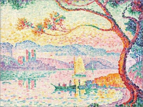 Hartschaumbild 160 x 120 cm: Der Hafen von Antibes (Port d'Antibes). 1917 von Paul Signac/ARTOTHEK (Port-spiegelung)