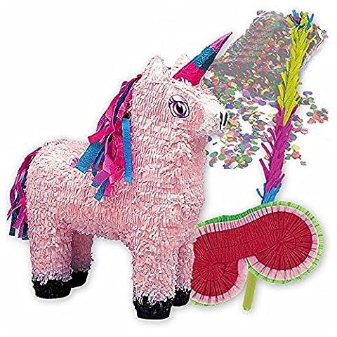 PIÑATA-SET: Rosa Einhorn Piñata + Schläger + Maske + Konfetti