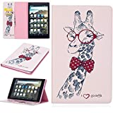 KM-WEN® Tablet Case for Amazon Fire HD 8 (6th Gen/2016 Model) Bookstyle Color Painting Serie Giraffe Pattern PU Leather Flip Cover Case Bag with Stand Function Protective Case Cover for Amazon Fire HD 8 (6th Gen/2016 Model) Tablet PC Color-6