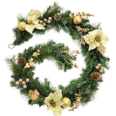 WeRChristmas Decorated Garland Christmas Decoration, 6 feet - Cream/Gold with Command 17083G-AWES Large Outdoor Designer Hook - Graphite