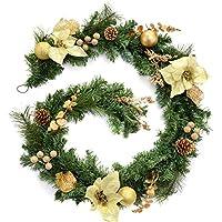 WeRChristmas Decorated Garland Christmas Decoration, 6 feet - Cream/Gold